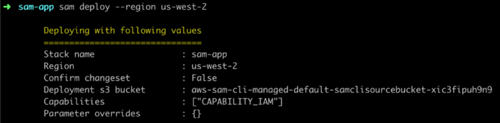 AWS SAM CLI deploy command