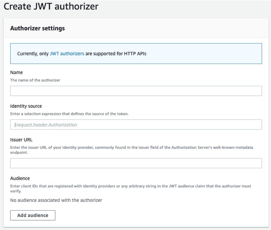 Create a new JWT authorizer