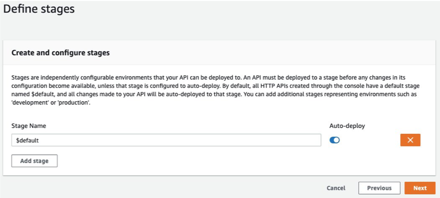 Define a stage and enable auto deploy
