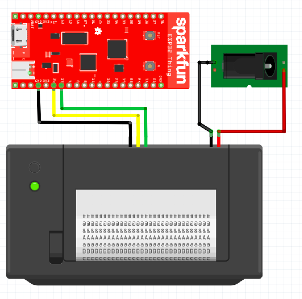 A wiring diagram depicting an ESP32 connected to a thermal printer.