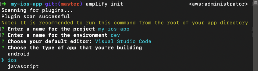 Screen capture of 'amplify init' for an iOS application in a terminal window