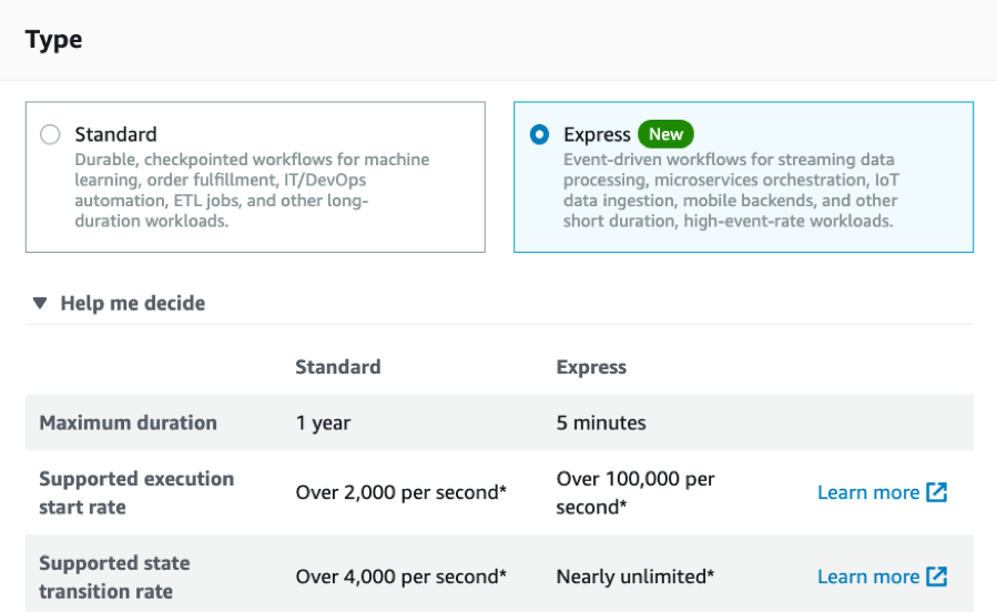 Screen capture of choosing Express Workflows in the AWS Management Console