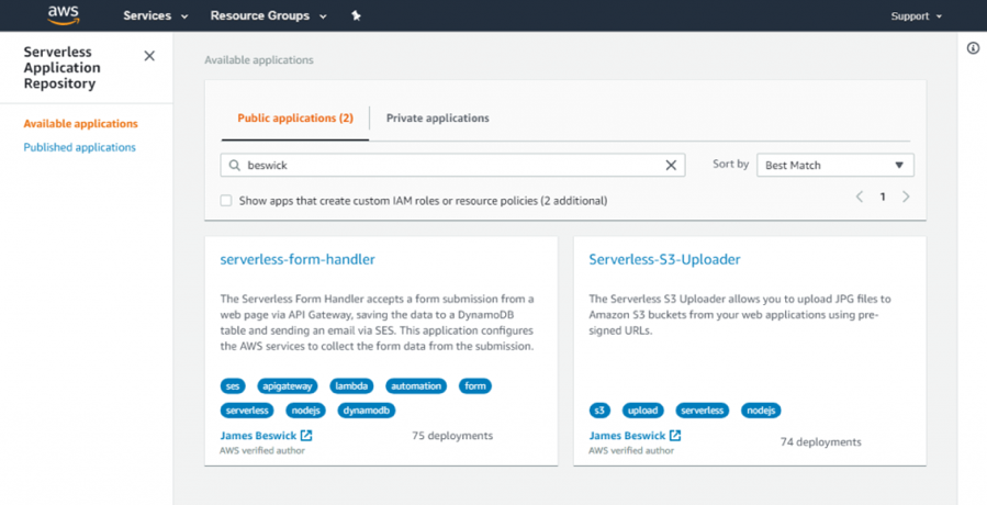 Screen capture of SAR Verifiedl developer badge in the AWS Management Console