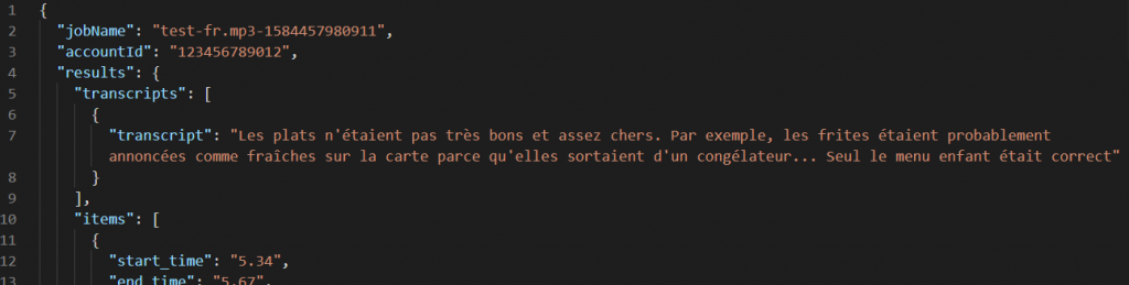 French transcription output
