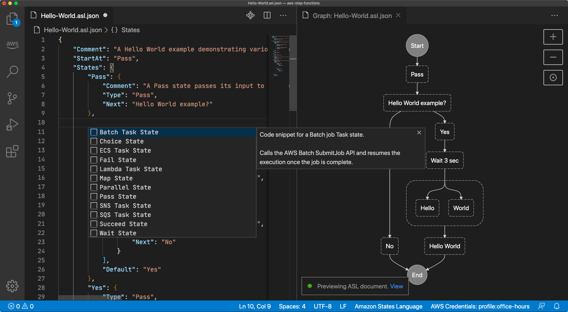 A screen capture of a Visual Studio Code window with a code snippet insertion dialog showing twelve Amazon States Langauge states