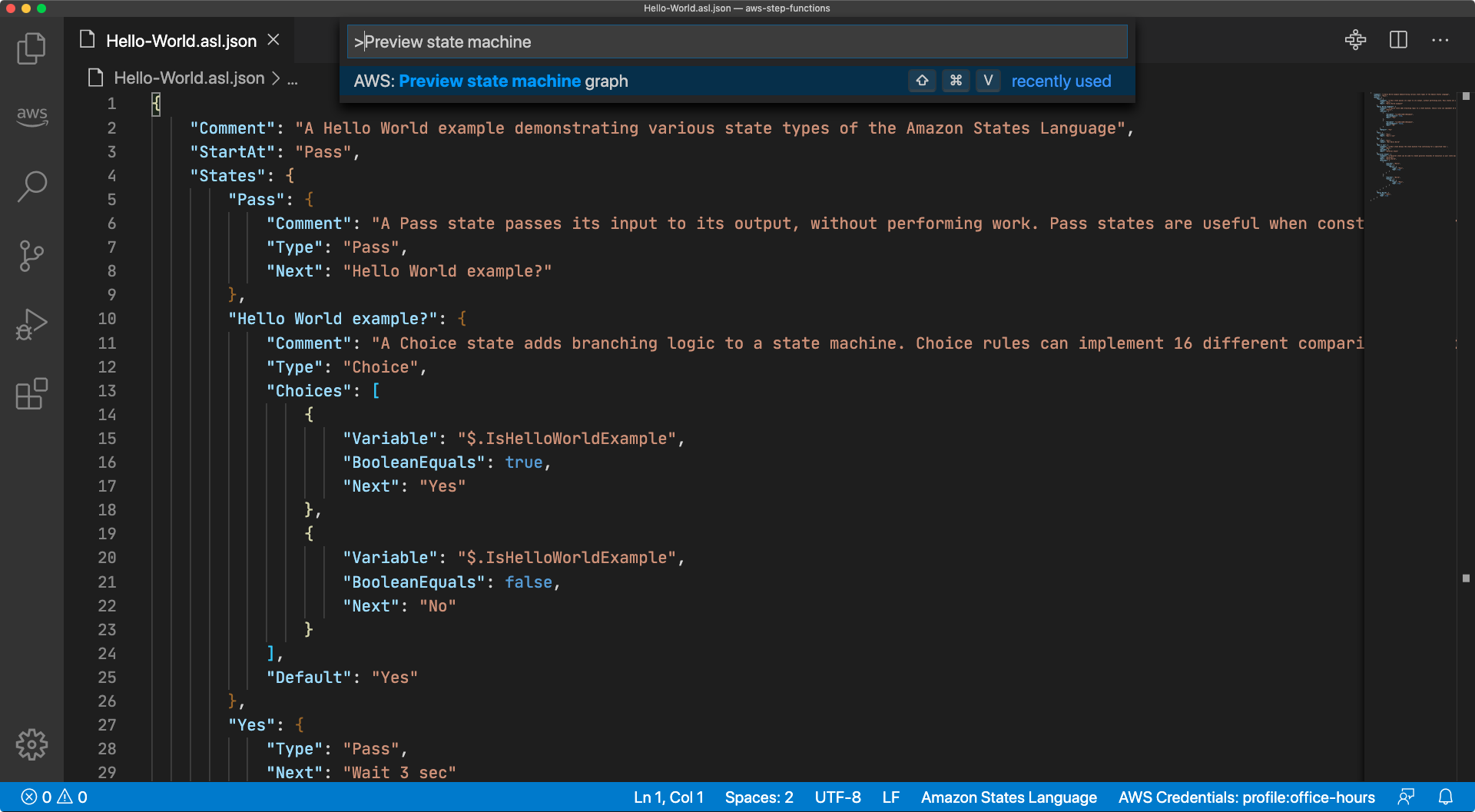 "A screen capture of the Visual Studio Code Command Palette with the text "">Preview state machine"" entered and the option ""AWS: Preview state machine graph"" highlighted"