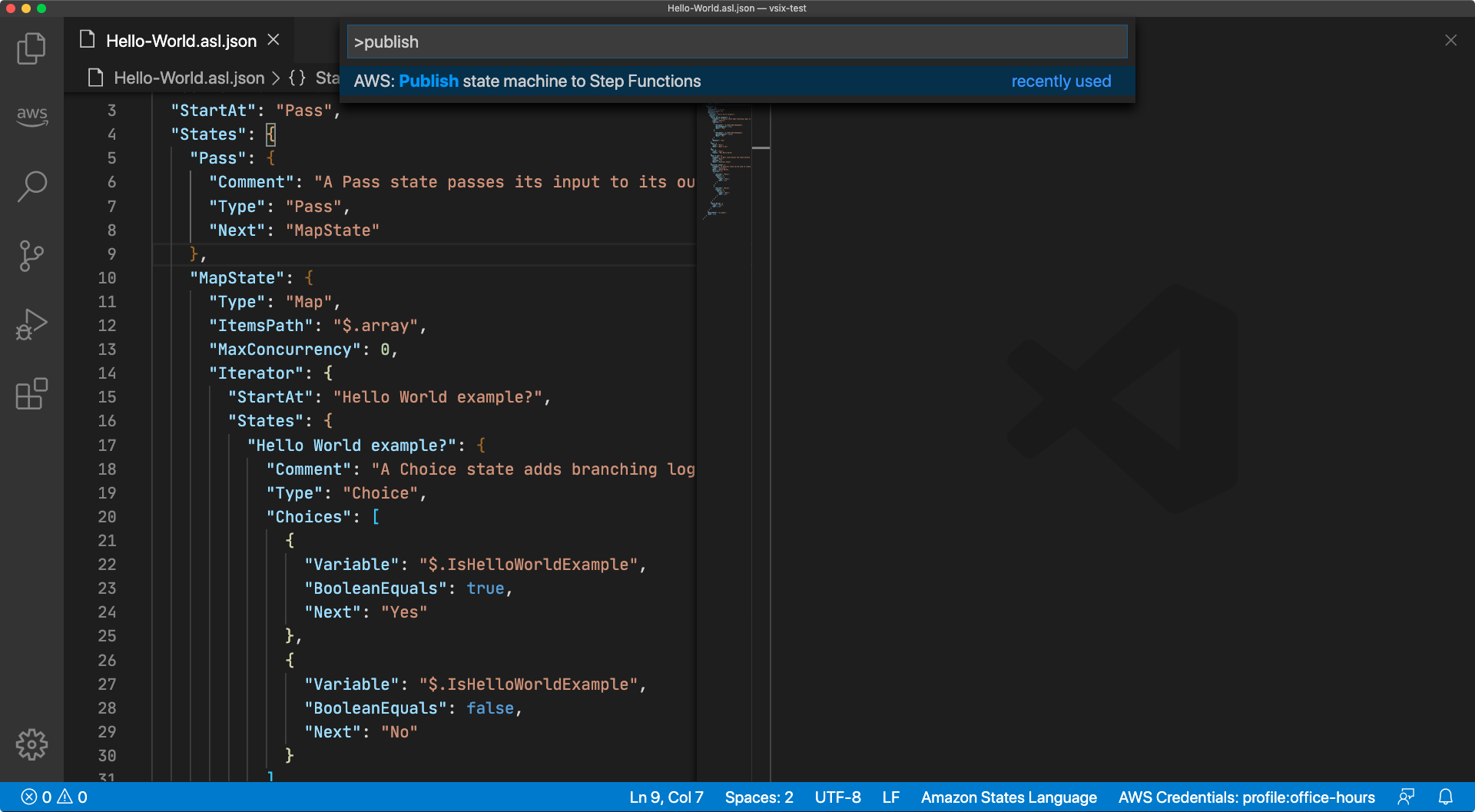 """Screen capture of the Visual Studio Command Palette with the command """"AWS: Publish state machine to Step Functions"""" highlighted"""