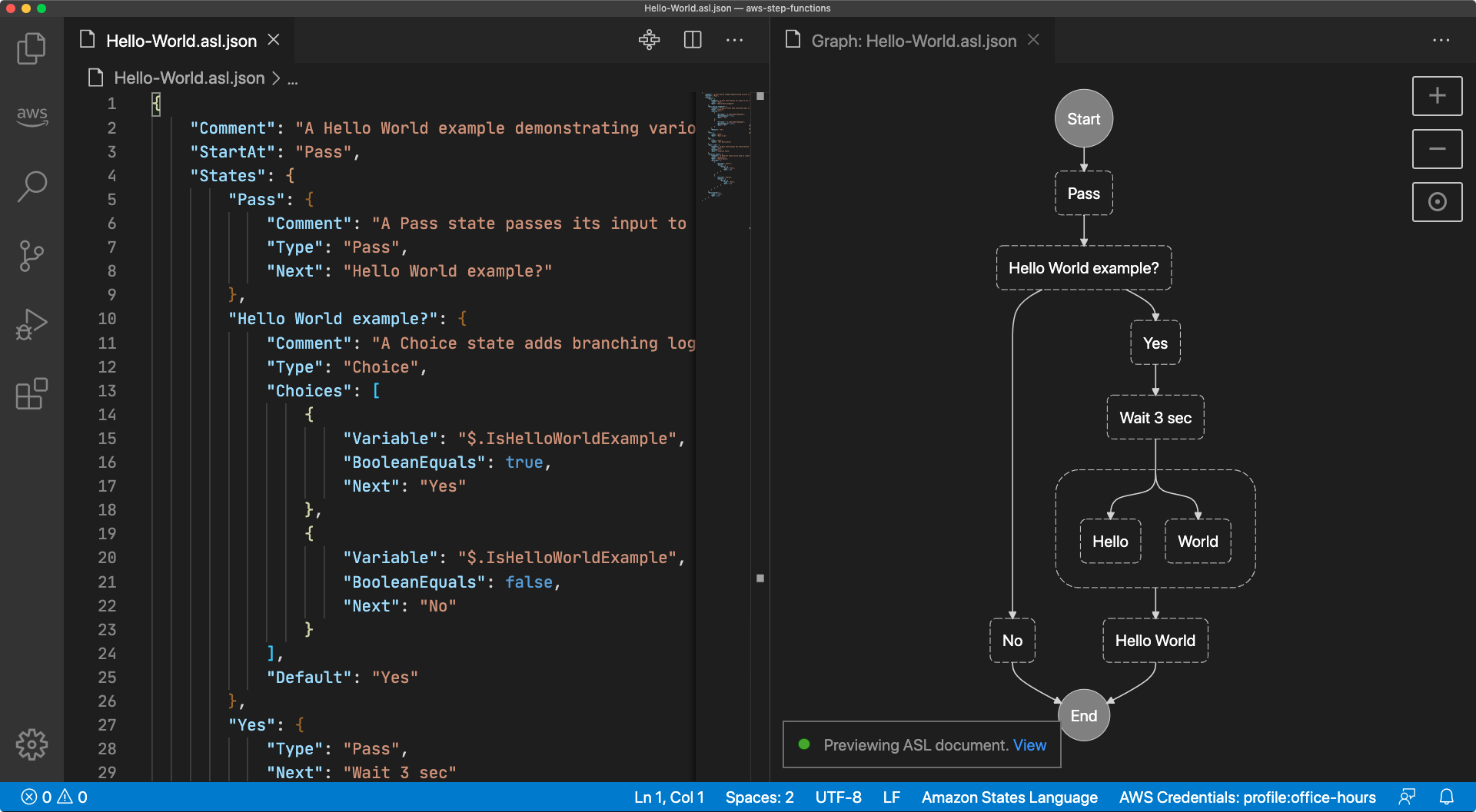 A screen capture of a Visual Studio Code window with two side-by-side tabs, one with a state machine definition and one with a preview graph for the same state machine