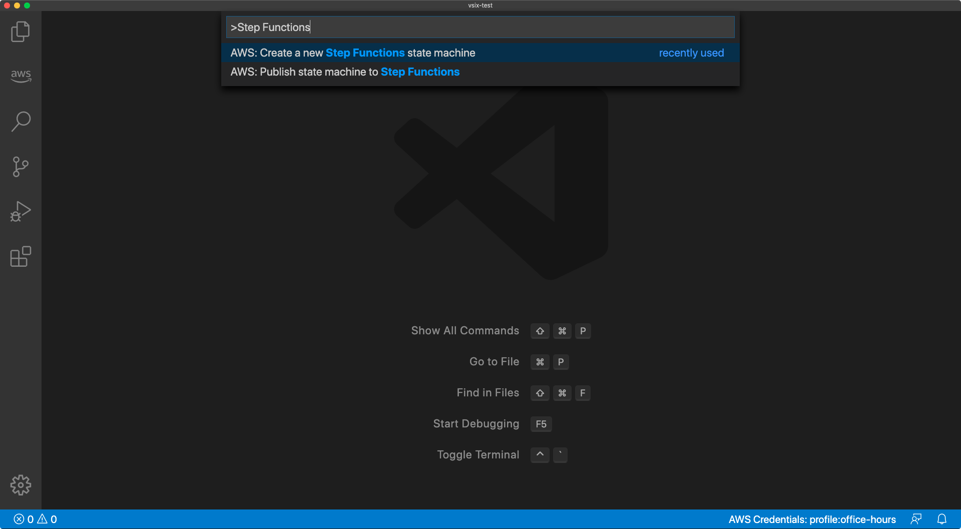 "Screen capture of the Command Palette in Visual Studio Code with the text "">AWS Step Functions"" entered"