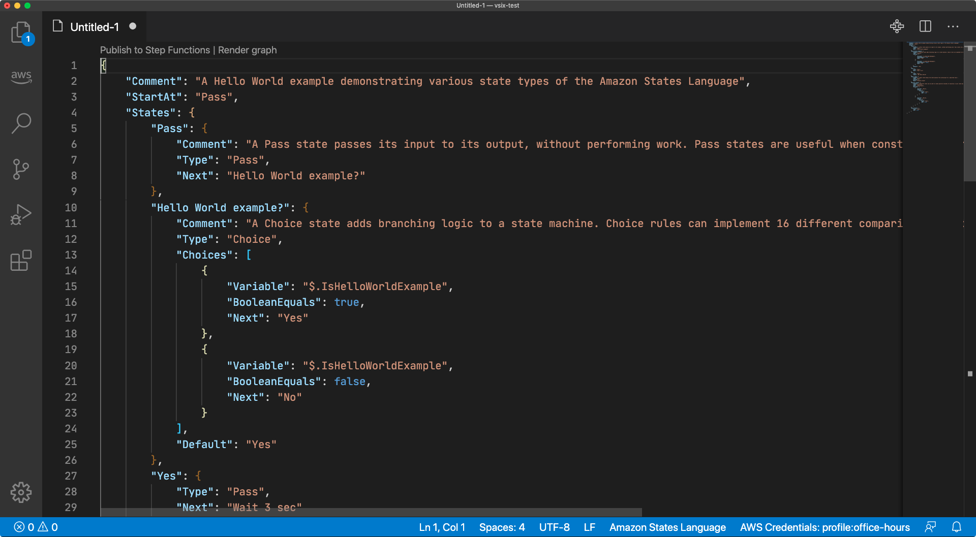 "A screen capture of a Visual Studio Code window with a ""Hello World"" example state machine"