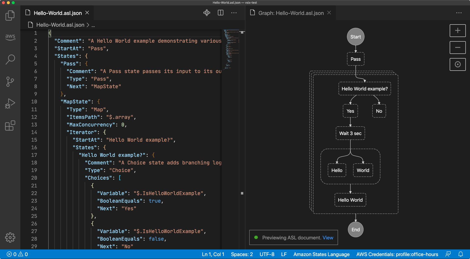 A Visual Studio Code window displaying two tabs, an updated state machine definition and the automatically-updated preview of the same state machine