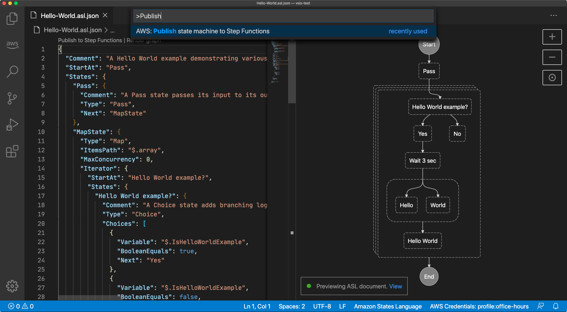 "Screen capture of the Visual Studio Command Palette with the command ""AWS: Publish state machine to Step Functions"" highlighted"