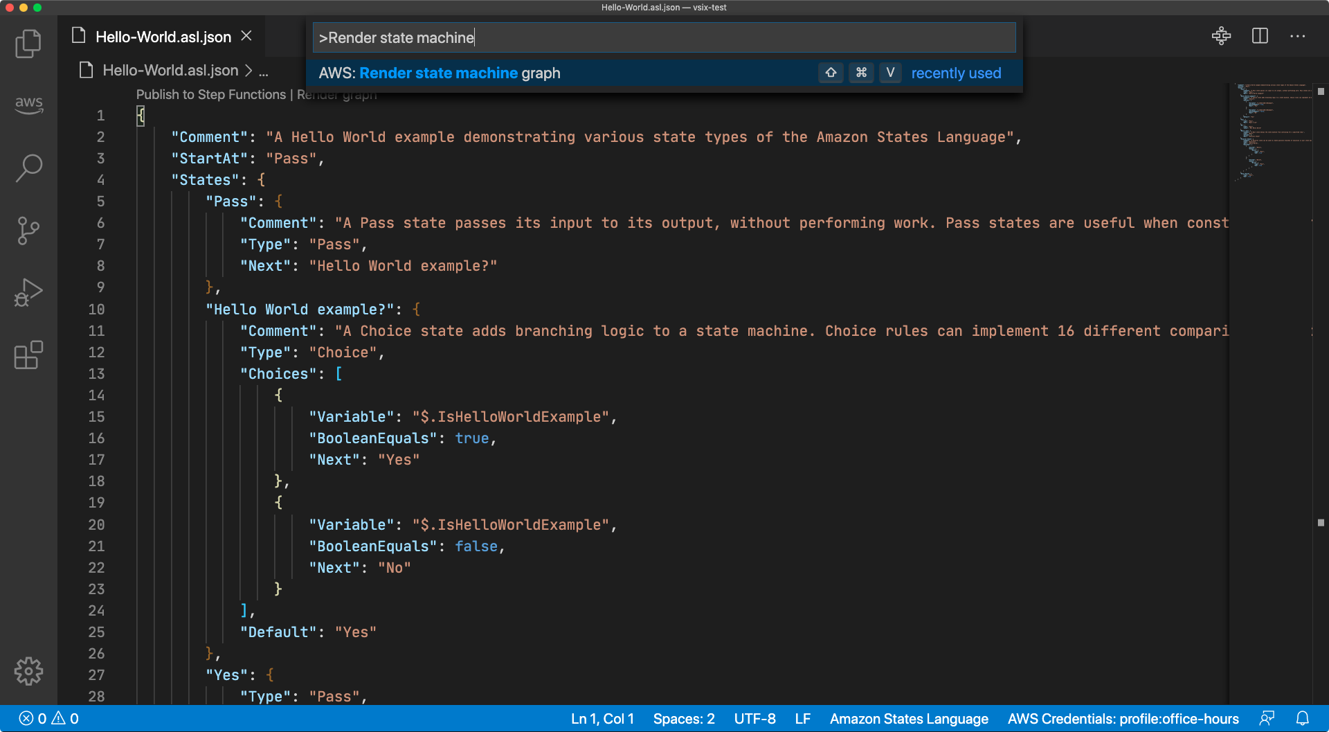 "A screen capture of the Visual Studio Code Command Palette with the text "">Render state machine"" entered and the option ""AWS: Render state machine graph"" highlighted"