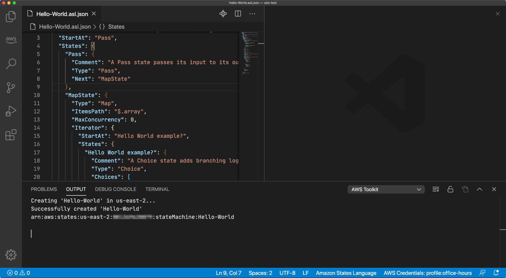 Screen capture from Visual Studio Code showing the successful creation of a new state machine in the Output window