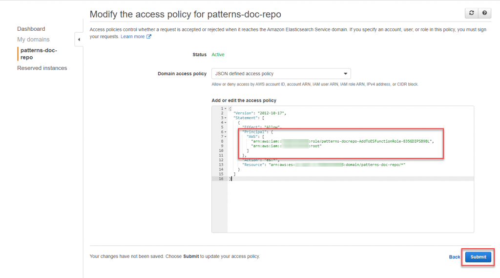 Modify access policy for Elasticsearch.