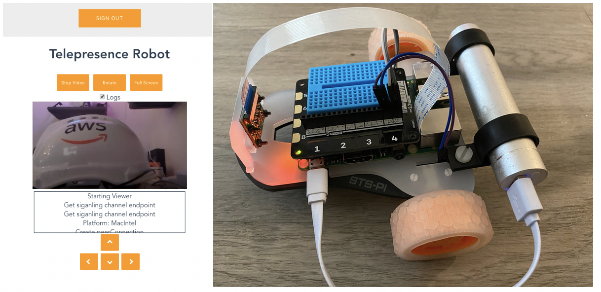 The deployed web frontend and the robot it controls.