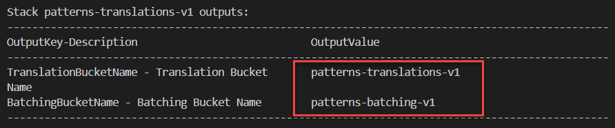 Output values after SAM deployment.