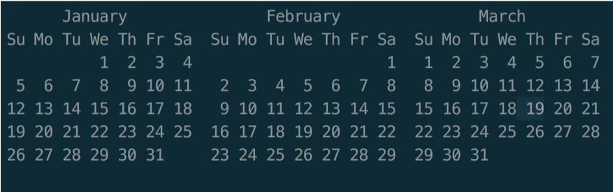 A calendar of the January, February, and March.