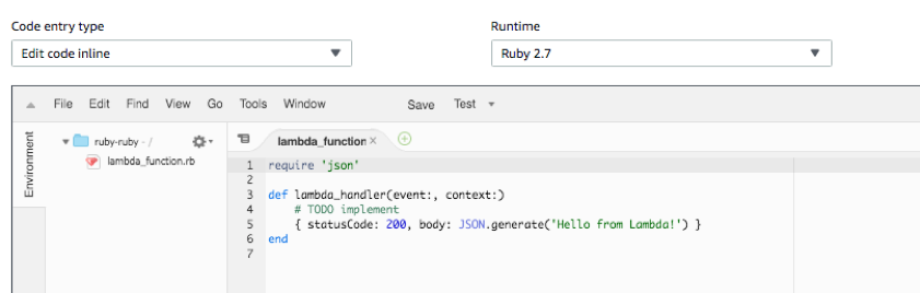 A Lambda function written in Ruby 2.7.
