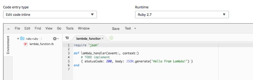 A Lambda function written in Ruby 2.7.