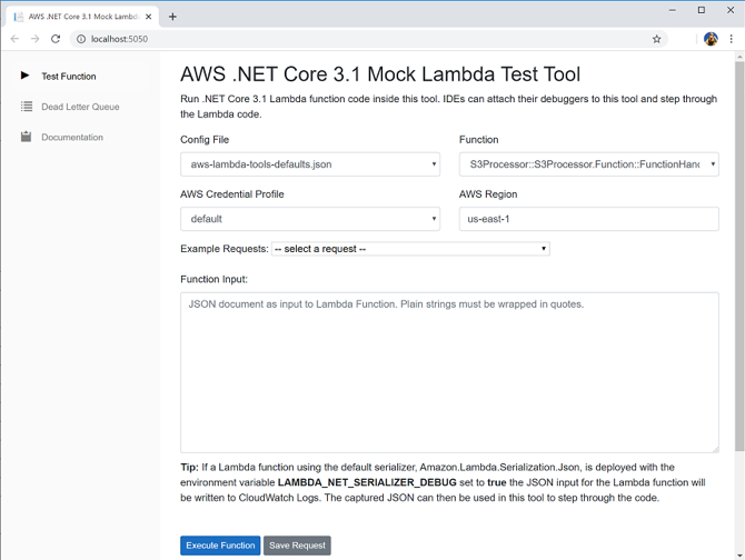 Updated AWS Mock .NET Lambda Test Tool