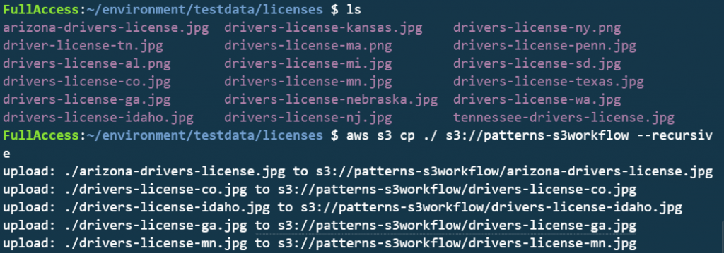 Uploading files to the S3 bucket.