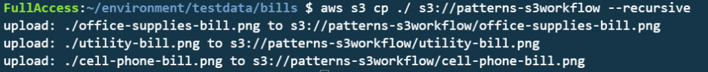 Uploading different files to the S3 bucket.