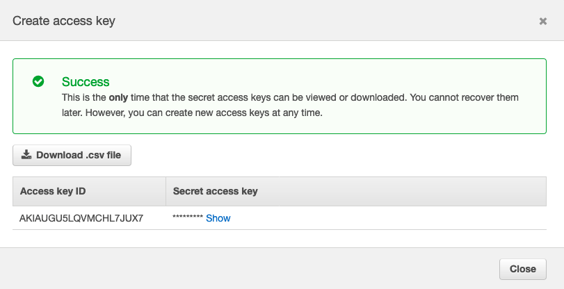 Create Access Key for Jenkins user fig. 2