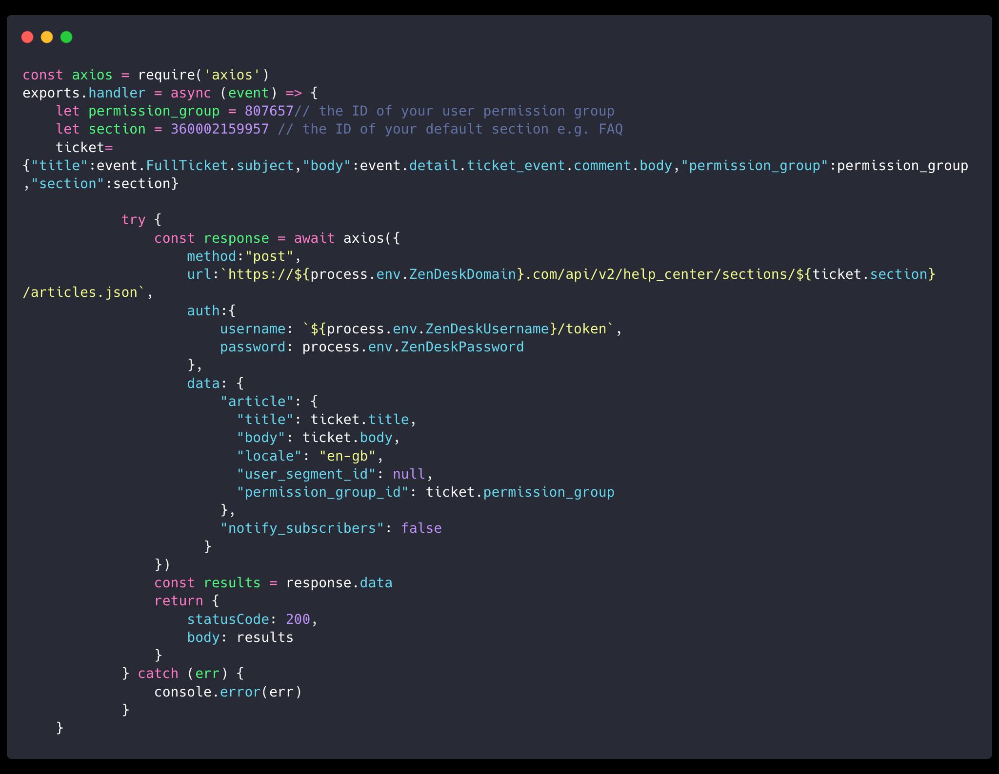 AWS Lambda function code