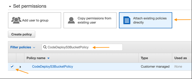 attach policies to the S3 bucket