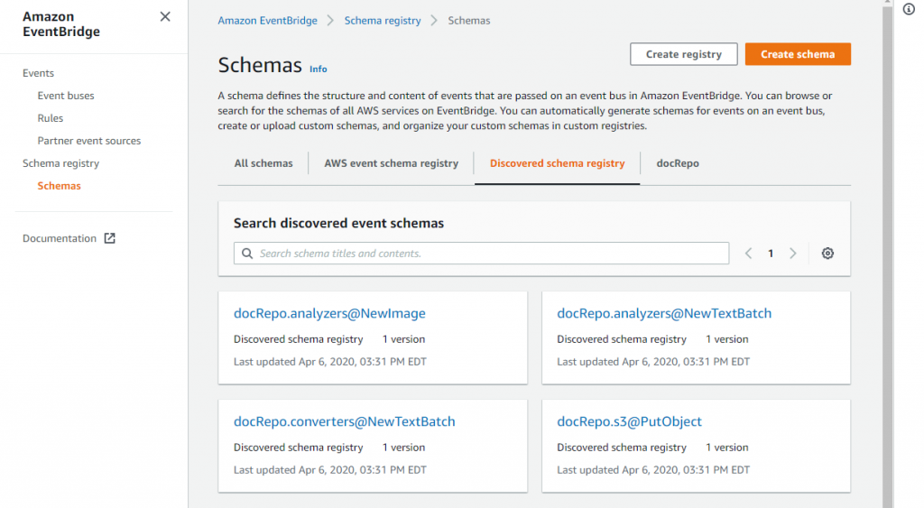 Schema discovery in Amazon EventBridge