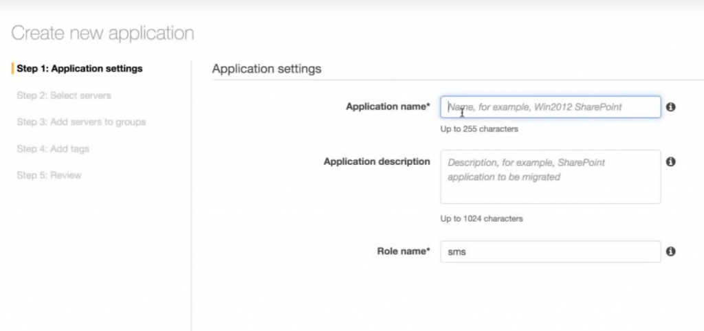 Create new application - Application settings