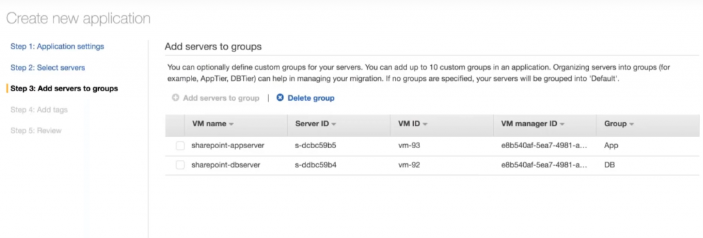 Create new application - Add servers to groups