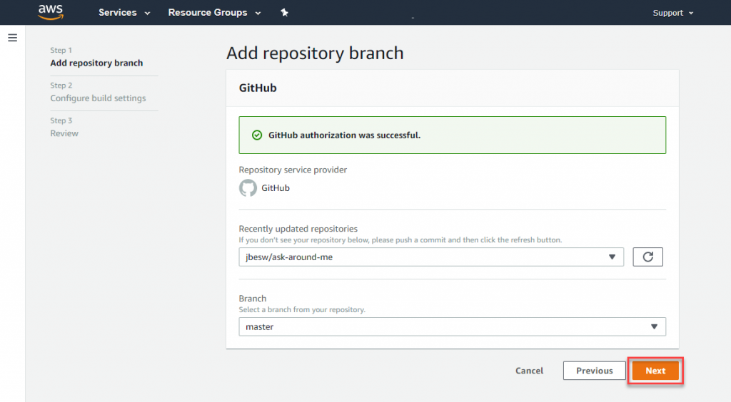 Add repository branch