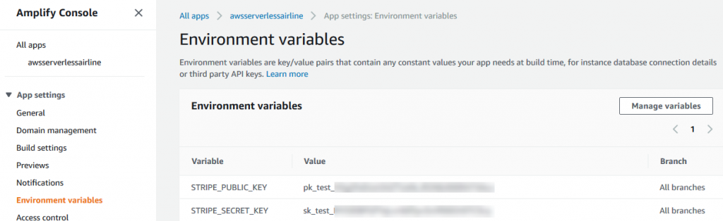 Amplify environment variables for All Branches.