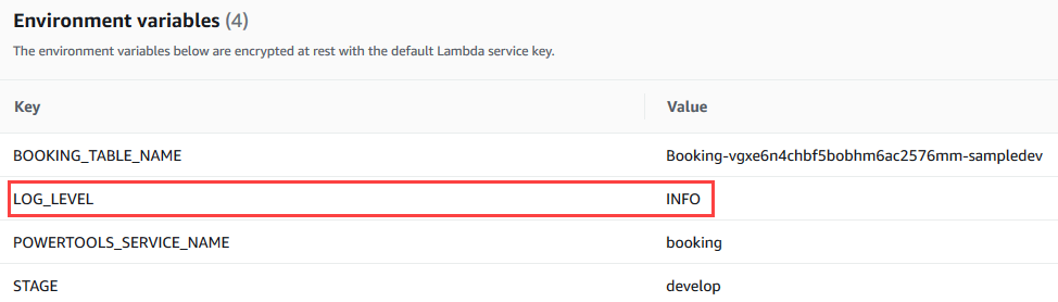 AWS Lambda environment variables in console