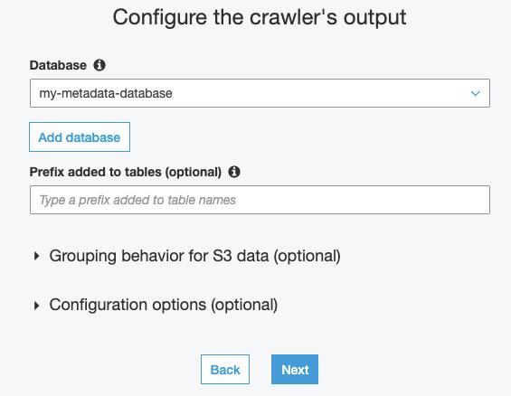 Configure the crawler's output