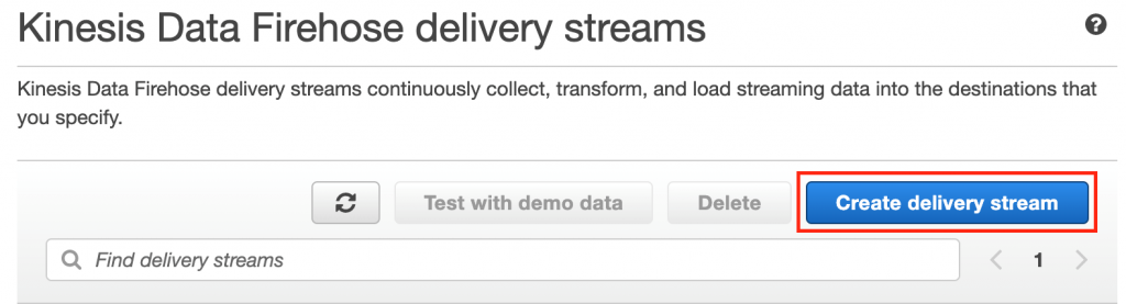 Create delivery stream
