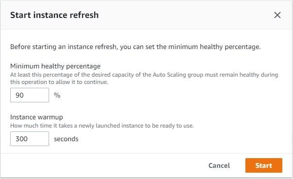 start instance refresh