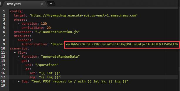 Embedding authorization token in test script