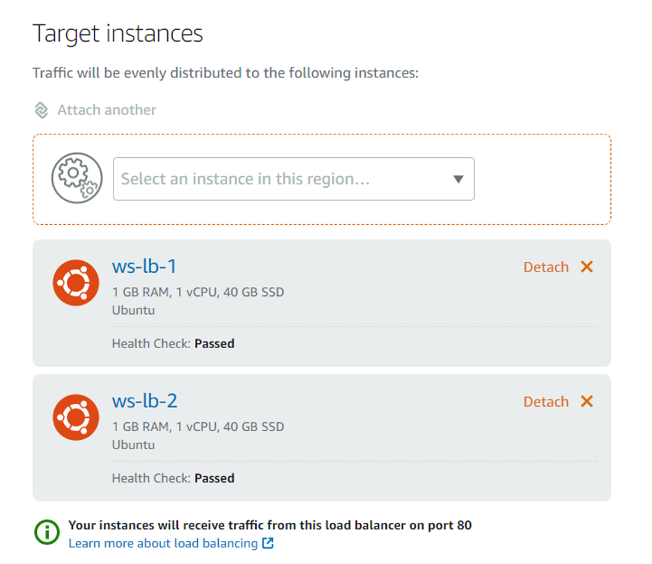 screenshot of target instances for load balancers