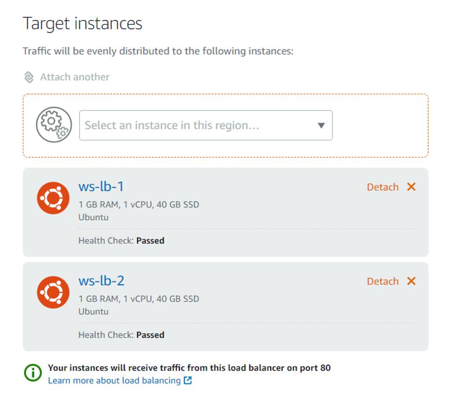 screenshot of target instances for load balancers