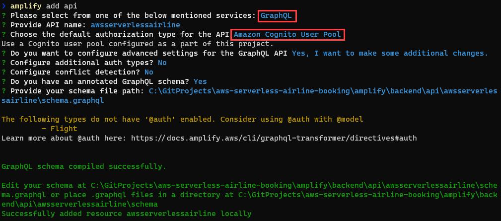 Amplify add Amazon Cognito user pool for authorization