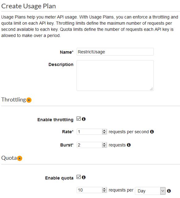 Create API Gateway usage plan