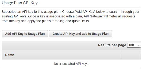 Create API key and add to usage plan.