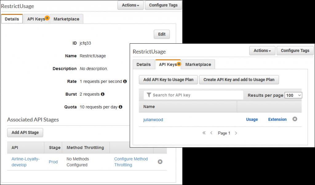 API key associated with usage plan