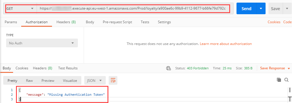 Postman unauthenticated GET request