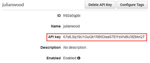 Retrieve API key.