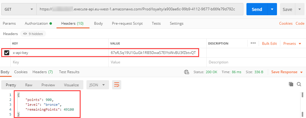 Postman successful authenticated GET request with access key