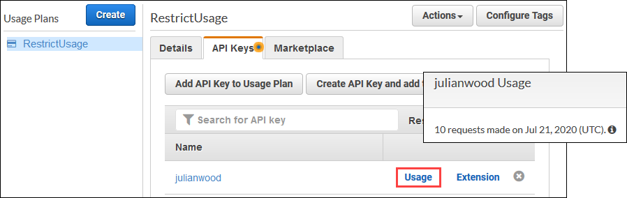 View API key usage